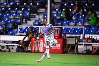 LAKE BUENA VISTA, FL - JULY 20: Nani #17 of Orlando City SC kicks the ball during a game between Orlando City SC and Philadelphia Union at Wide World of Sports on July 20, 2020 in Lake Buena Vista, Florida.
