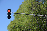 Red traffic light, Marseille, France