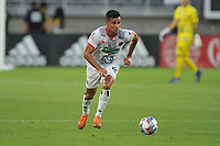 WASHINGTON, DC - JULY 7: Ian Smith #12 of Liga Deportiva Alajuense moves the ball during a game between Liga Deportiva Alajuense  and D.C. United at Audi Field on July 7, 2021 in Washington, DC.