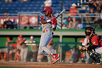 Williamsport Crosscutters Corbin Williams (6) bats during a NY-Penn League game against the Batavia Muckdogs on August 25, 2019 at Dwyer Stadium in Batavia, New York.  Williamsport defeated Batavia 10-3.  (Mike Janes/Four Seam Images)