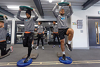 (L-R) Wayne Routledge  and Cameron Carter-Vickers exercise in the gym during the Swansea City Training at the Fairwood Training Ground, Swansea, Wales, UK. Thursday 22 November 2018