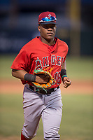 AZL Angels right fielder Datren Bray (16) jogs off the field between innings of an Arizona League game against the AZL Padres 2 at Tempe Diablo Stadium on July 18, 2018 in Tempe, Arizona. The AZL Padres 2 defeated the AZL Angels 8-1. (Zachary Lucy/Four Seam Images)