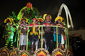 Imperatriz Leopolinense Samba School, Carnival, Rio de Janeiro, Brazil, 26th February 2017. The 'Beautiful Monster' - Belo Monstro - float. The Kayapo Indians are at the front of the float; from left: Beptirití Kayapó, Beptuk Metuktire, Raoni Metuktire, Megaron Txucarrhamãe.