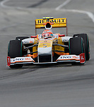 05 Apr 2009, Kuala Lumpur, Malaysia ---   ING Renault F1 Team driver Nelson Piquet of Brazil steers his car during the 2009 Fia Formula One Malasyan Grand Prix at the Sepang circuit near Kuala Lumpur. Photo by Victor Fraile --- Image by © Victor Fraile / The Power of Sport Images