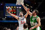Real Madrid's player Sergio Llull and Unics Kazan's player Marko Basic during match of Turkish Airlines Euroleague at Barclaycard Center in Madrid. November 24, Spain. 2016. (ALTERPHOTOS/BorjaB.Hojas)