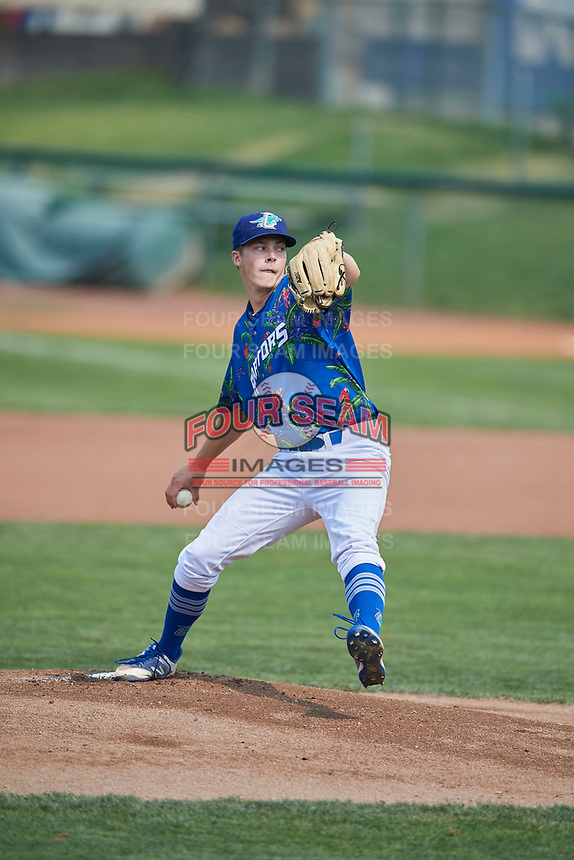 Ogden Raptors starting pitcher Caleb Sampen (51) delivers a pitch to the plate against the Idaho Falls Chukars at Lindquist Field on July 29, 2018 in Ogden, Utah. The Raptors defeated the Chukars 20-19. (Stephen Smith/Four Seam Images)