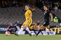 June 7, 2016: LAURA ALLEWAY (5) of Australia kicks the ball during an international friendly match between the Australian Matildas and the New Zealand Football Ferns as part of the teams' preparation for the Rio Olympic Games at Etihad Stadium, Melbourne. Photo Sydney Low