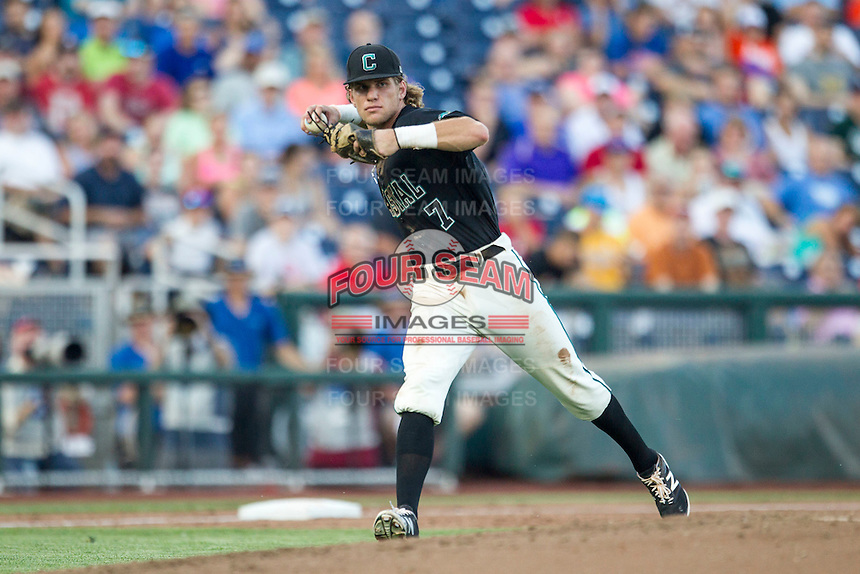 Coastal Carolina Chanticleers third baseman Zach Remillard (7) makes a running throw to first against the Florida Gators in Game 4 of the NCAA College World Series on June 19, 2016 at TD Ameritrade Park in Omaha, Nebraska. Coastal Carolina defeated Florida 2-1. (Andrew Woolley/Four Seam Images)