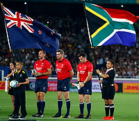 The match officials line up during the Rugby World Cup Pool B match between the New Zealand All Blacks and South Africa Springboks at the International Stadium in Yokohama, Japan on Saturday, 21 September, 2019. Photo: Steve Haag / stevehaagsports.com