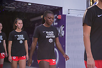 ORLANDO, FL - FEBRUARY 24: Deanne Rose #6 of the CANWNT walk out of the tunnel before a game between Brazil and Canada at Exploria Stadium on February 24, 2021 in Orlando, Florida.