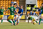 St Johnstone v Preston North End…13.07.21  McDiarmid Park<br />Stevie May is fouled by Patrick Bauer<br />Picture by Graeme Hart.<br />Copyright Perthshire Picture Agency<br />Tel: 01738 623350  Mobile: 07990 594431