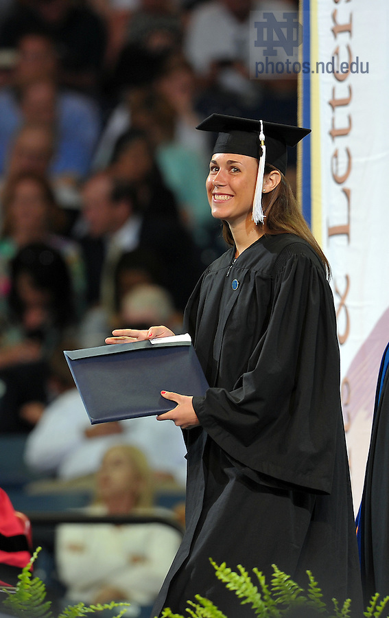 May 21, 2011; Kelly Paulius receives her degree at the 2011 College of Arts & Letters Commencement ceremony...Photo by Matt Cashore/University of Notre Dame