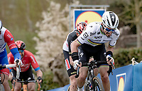 World Champion Julian Alaphilippe (FRA/Deceuninck - QuickStep) up the final Paterberg climb<br /> <br /> 105th Ronde van Vlaanderen 2021 (MEN1.UWT)<br /> <br /> 1 day race from Antwerp to Oudenaarde (BEL/264km) <br /> <br /> ©kramon
