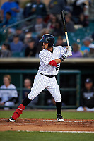 Lancaster JetHawks left fielder Manuel Melendez (19) at bat during a California League game against the Visalia Rawhide at The Hangar on May 17, 2018 in Lancaster, California. Lancaster defeated Visalia 11-9. (Zachary Lucy/Four Seam Images)
