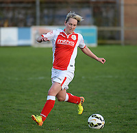 20150428 - VARSENARE , BELGIUM : Standard's Julie Gregoire pictured in action during the soccer match between the women teams of Club Brugge Vrouwen and Standard de Liege Femina , on the 24th matchday of the BeNeleague competition Tuesday 28 th April 2015 in Varsenare . PHOTO DAVID CATRY