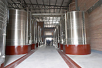 The winery under construction The vat hall with stainless steel tanks. Bodega Valle Perdido (previously Arquen) Winery, Neuquen, Patagonia, Argentina, South America