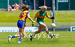 Megan O'Connor, Kerry in action against Lauren Griffin, Clare in the Lidl Ladies National Football League Division 2A Round 2 at Austin Stack Park, Tralee on Sunday.
