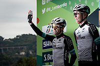 Simon Yates (GBR/BikeExchange) blinded at the race start in Como<br /> <br /> 115th Il Lombardia 2021 (1.UWT)<br /> One day race from Como to Bergamo (ITA/239km)<br /> <br /> ©kramon