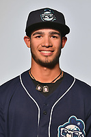 Asheville Tourists outfielder Manuel Melendez (19) poses for a photo at Story Point Media on April 4, 2017 in Asheville, North Carolina. (Tony Farlow/Four Seam Images)