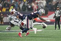FOXBOROUGH, MA - NOVEMBER 24: Dallas Cowboys Cornerback Byron Jones #31 prevents a long pass to New England Patriots Defensive back Devin McCourty #32 during a game between Dallas Cowboys and New England Patriots at Gillettes on November 24, 2019 in Foxborough, Massachusetts.