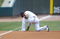 Winston-Salem Dash third baseman Yeyson Yrizarri (2) takes a knee prior to the game against the Carolina Mudcats at BB&T Ballpark on August 4, 2019 in Winston-Salem, North Carolina. The Dash defeated the Mudcats 7-5. (Brian Westerholt/Four Seam Images)