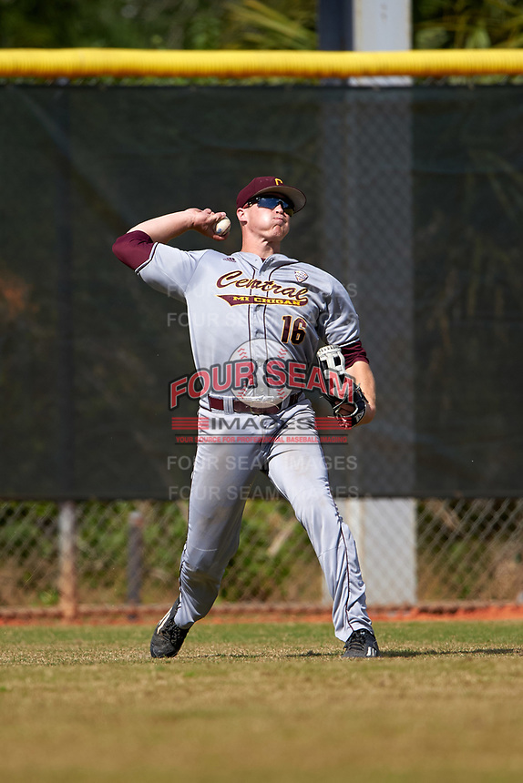 Central Michigan Chippewas left fielder Daniel Jipping (16) during a game against the Boston College Eagles on March 8, 2016 at North Charlotte Regional Park in Port Charlotte, Florida.  Boston College defeated Central Michigan 9-3.  (Mike Janes/Four Seam Images)