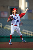 Stockton Ports starting pitcher Zack Erwin (33) attempts to pick off the runner at first base during a California League game against the Rancho Cucamonga Quakes at Banner Island Ballpark on May 16, 2018 in Stockton, California. Rancho Cucamonga defeated Stockton 6-3. (Zachary Lucy/Four Seam Images)