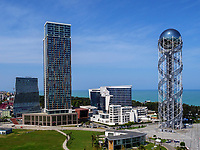Blick vom Riesenrad auf Zentrum und Turm des georgischen Alphabets, Batumi, Adscharien - Atschara, Georgien, Europa<br /> center with tower of Georgian allphabet, Batumi, Adjara,  Georgia, Europe