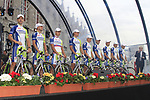 Liquigas-Cannondale team on stage at the Team Presentation Ceremony before the 2012 Tour de France in front of The Palais Provincial, Place Saint-Lambert, Liege, Belgium. 28th June 2012.<br /> (Photo by Eoin Clarke/NEWSFILE)