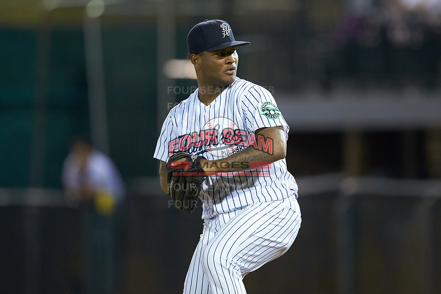 Pulaski Yankees relief pitcher Kenlly Montas (56) in action against the Burlington Royals at Calfee Park on September 1, 2019 in Pulaski, Virginia. The Royals defeated the Yankees 5-4 in 17 innings. (Brian Westerholt/Four Seam Images)