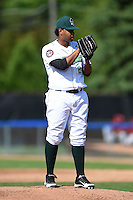 Jamestown Jammers pitcher Jose Regalado (27) looks in for the sign during a game against the Mahoning Valley Scrappers on June 15, 2014 at Russell Diethrick Park in Jamestown, New York.  Jamestown defeated Mahoning Valley 9-4.  (Mike Janes/Four Seam Images)