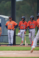 GCL Astros Rene Rojas (4), Franklin Pinto (21), and Jose Alvarez (6) during a Gulf Coast League game against the GCL Nationals on August 9, 2019 at FITTEAM Ballpark of the Palm Beaches training complex in Palm Beach, Florida.  GCL Nationals defeated the GCL Astros 8-2.  (Mike Janes/Four Seam Images)