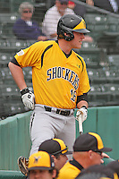 Wichita State Shockers infielder Casey Gillaspie #16 on deck during a game against the Coastal Carolina Chanticleers at Ticketreturn.com Field at Pelicans Ballpark on February 23, 2014 in Myrtle Beach, South Carolina. Wichita State defeated Coastal Carolina by the score of 5-2. (Robert Gurganus/Four Seam Images)