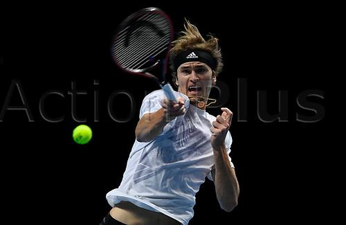 20th November 2020; O2, London;  Alexander Zverev Germany returns to Novak Djokovic during the 2020 ATP Finals