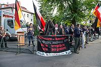 """Etwa 45 Neonazis protestierten am Freitag den 8. Mai 2015 in Berlin-Karlshorst gegen die Feierlichkeiten zum 70. Jahrestag der Befreiung Deutschlands vom Nationalsozialismus. Die Neonazis hielten unweit des Kapitulationsmuseum eine Kundgebung ab. Sie feierten in Reden die Helden der Wehrmacht und behaupteten, die Allierten haetten nach der Kapitulation ueber 1 Million Deutsche ermordet und der """"Voelkermord"""" ginge heute durch Einwanderung weiter.<br /> 8.5.2015, Berlin<br /> Copyright: Christian-Ditsch.de<br /> [Inhaltsveraendernde Manipulation des Fotos nur nach ausdruecklicher Genehmigung des Fotografen. Vereinbarungen ueber Abtretung von Persoenlichkeitsrechten/Model Release der abgebildeten Person/Personen liegen nicht vor. NO MODEL RELEASE! Nur fuer Redaktionelle Zwecke. Don't publish without copyright Christian-Ditsch.de, Veroeffentlichung nur mit Fotografennennung, sowie gegen Honorar, MwSt. und Beleg. Konto: I N G - D i B a, IBAN DE58500105175400192269, BIC INGDDEFFXXX, Kontakt: post@christian-ditsch.de<br /> Bei der Bearbeitung der Dateiinformationen darf die Urheberkennzeichnung in den EXIF- und  IPTC-Daten nicht entfernt werden, diese sind in digitalen Medien nach §95c UrhG rechtlich geschuetzt. Der Urhebervermerk wird gemaess §13 UrhG verlangt.]"""