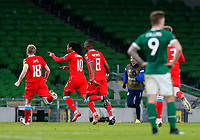 27th March 2021; Aviva Stadium, Dublin, Leinster, Ireland; 2022 World Cup Qualifier, Ireland versus Luxembourg; Gerson Rodrigues of Luxembourg turns and celebrates scoring the opening goal in the 85th minute for 0-1