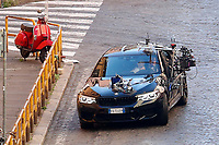 Actor Tom Cruise and actress Hayley Atwell during a high-speed car chase with the Italian Police on the set of the film Mission Impossible 7 in Via Panisperna. <br /> Rome (Italy), November  26th 2020<br /> Photo Samantha Zucchi Insidefoto