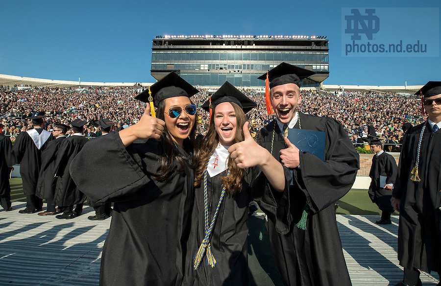 May 18, 2014; Graduates celebrate at the 2014 Commencement ceremony in Notre Dame Stadium. Photo by Barbara Johnston/University of Notre Dame