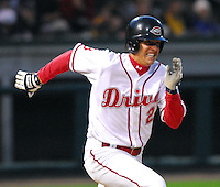 10 April 2007: Reid Engel of the Greenville Drive, Class A affiliate of the Boston Red Sox, during a game against the Columbus Catfish.  Photo by:  Tom Priddy/Four Seam Images