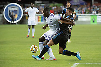 SAN JOSE,  - SEPTEMBER 1: Benji Michel  #19 of the Orlando City SC and Marcos López #27 of the San Jose Earthquakes during a game between Orlando City SC and San Jose Earthquakes at Avaya Stadium on September 1, 2019 in San Jose, .