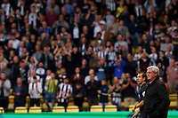 25th September 2021; Vicarge Road, Watford, Herts,  England;  Premier League football, Watford versus Newcastle; Newcastle United Manager Steve Bruce stands pitch side as fans chant for him to be sacked