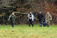 Pictured: Friends and relatives search in the area by the river Ogmore near Stormy Down, Wales, UK. Tuesday 22 November 2016<br /> Re: The search has resumed for Russell Sherwood, 69, who went missing in river Ogmore, Bridgend County on Sunday.<br /> Sherwood, of Cilfrew, Neath, was heading for Ewenny in the Vale of Glamorgan during heavy rain in the morning but never arrived.<br /> He disappeared at Stormy Down and car parts were found on the river bank.<br /> South Wales Police have confirmed registration plates recovered from a bumper match Mr Sherwood's car.