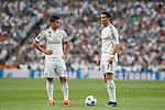 Real Madrid´s James Rodriguez and Cristiano Ronaldo during the Champions League semi final soccer match between Real Madrid and Juventus at Santiago Bernabeu stadium in Madrid, Spain. May 13, 2015. (ALTERPHOTOS/Victor Blanco)
