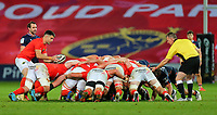 10th October 2020; Thomond Park, Limerick, Munster, Ireland; Guinness Pro 14 Rugby, Munster versus Edinburgh; Conor Murray of Munster ready to put the ball into the scrum