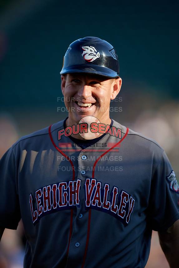 Lehigh Valley IronPigs bench coach Wes Helms (18) during a game against the Rochester Red Wings on September 1, 2018 at Frontier Field in Rochester, New York.  Lehigh Valley defeated Rochester 2-1.  (Mike Janes/Four Seam Images)