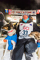 Joar Leifseth Ulsom at the finish line in Nome, Alaska early on Wednesday morning March 14th as he wins the 46th running of the 2018 Iditarod Sled Dog Race.  He finished in 9 days 12 hours 00 minutes and 00 seconds<br /> <br /> Photo by Jeff Schultz/SchultzPhoto.com  (C) 2018  ALL RIGHTS RESERVED