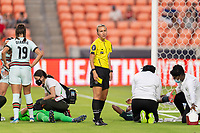 HOUSTON, TX - JUNE 13: Katja Koroleva looks to the sideline during a game between Nigeria and Portugal at BBVA Stadium on June 13, 2021 in Houston, Texas.