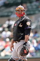 Louisville Bats catcher Corky Miller #8 during a game against the Rochester Red Wings at Frontier Field on May 12, 2011 in Rochester, New York.  Louisville defeated Rochester 5-2.  Photo By Mike Janes/Four Seam Images