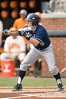 UC Irvine Anteaters right fielder Evan Cassolato (8) squares to bunt during game one of a double header against the Tennessee Volunteers at Lindsey Nelson Stadium on March 12, 2016 in Knoxville, Tennessee. The Volunteers defeated the Anteaters 14-4. (Tony Farlow/Four Seam Images)
