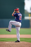 Minnesota Twins relief pitcher Brandon Kintzler (27) delivers a pitch during a Spring Training game against the Baltimore Orioles on March 7, 2016 at Ed Smith Stadium in Sarasota, Florida.  Minnesota defeated Baltimore 3-0.  (Mike Janes/Four Seam Images)